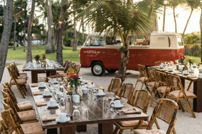 Breakfast setup at Renaissance Aruba with little one bus